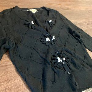🦄🦄🦄Vintage Black Cardigan Flower Embellishment